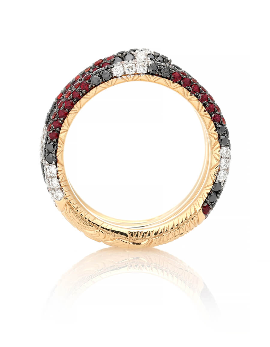 GUCCI Ourobouros 18kt gold ring with diamonds