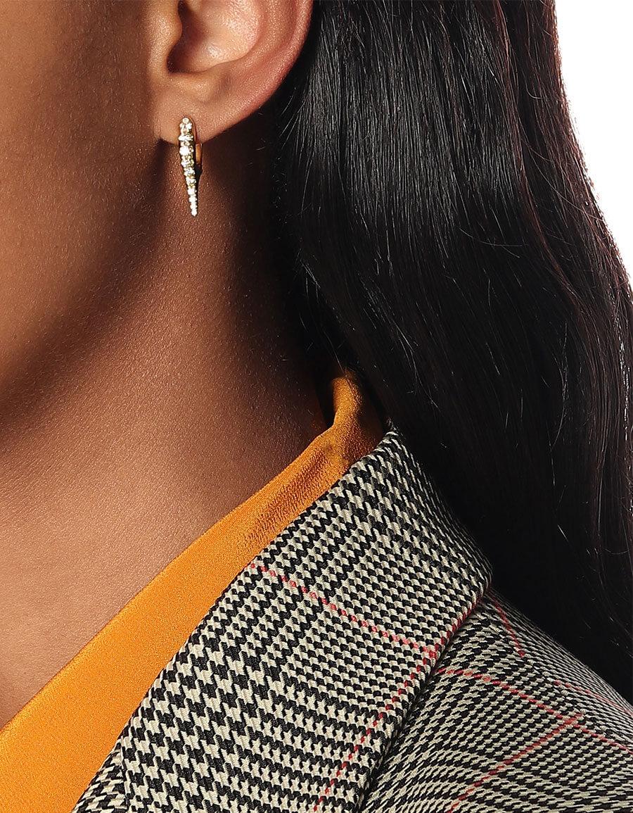 MELISSA KAYE Lola Mini Needle 18kt gold earrings with diamonds