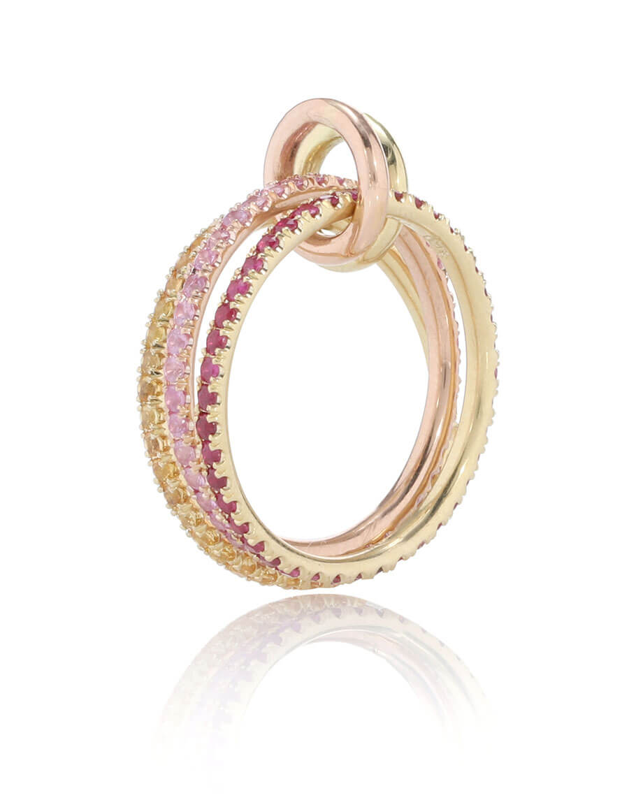 SPINELLI KILCOLLIN Aurora MX 18kt gold linked rings with rubies and sapphires