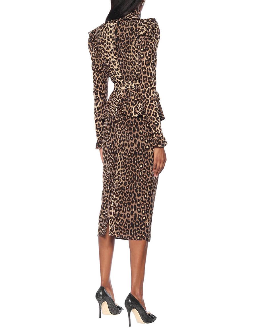 ALESSANDRA RICH Leopard print silk midi dress