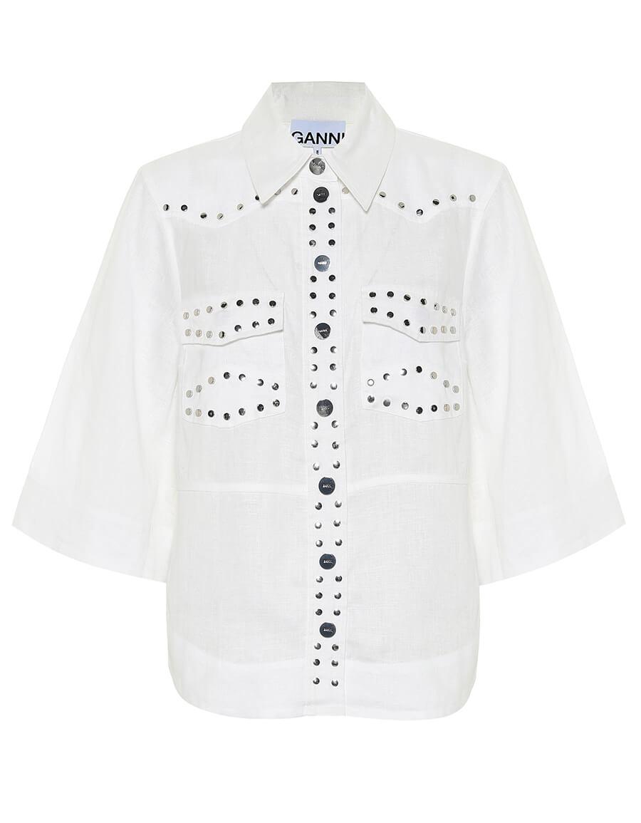 GANNI Embellished linen shirt