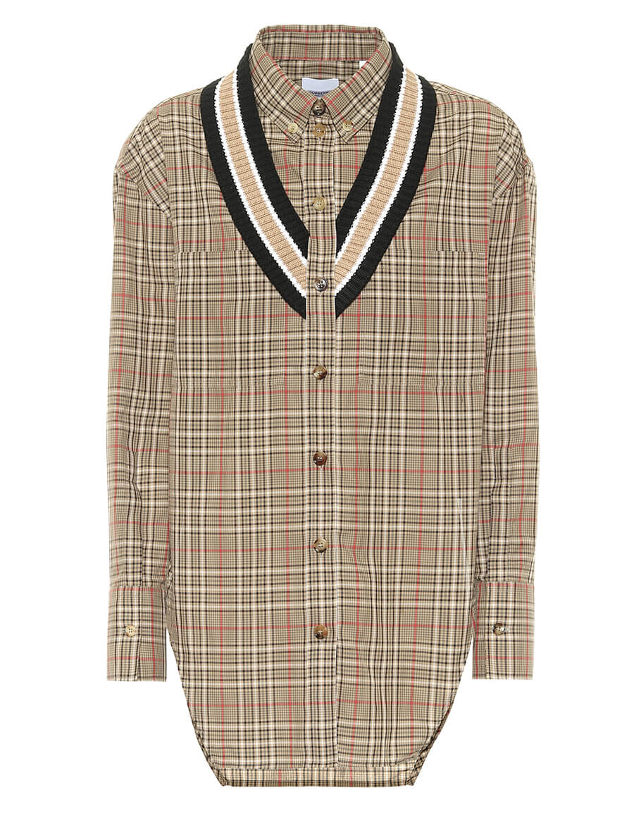 BURBERRY Checked cotton and wool shirt