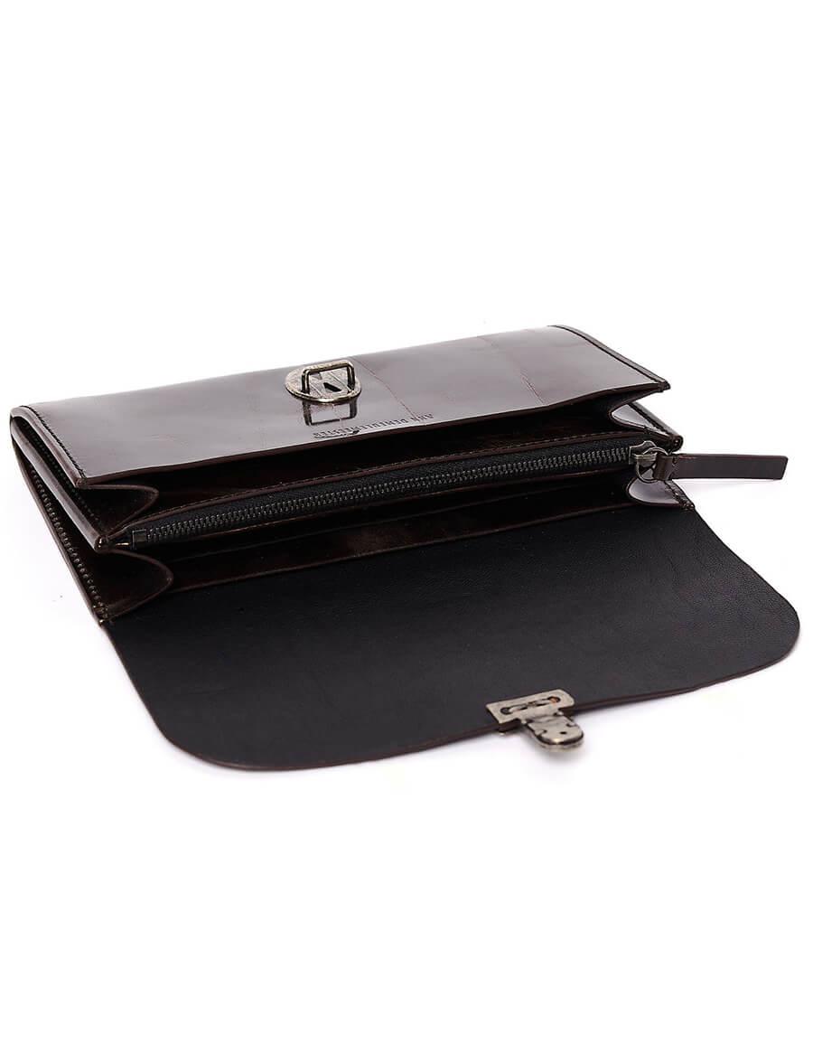 ANN DEMEULEMEESTER Brown Textured Leather Wallet