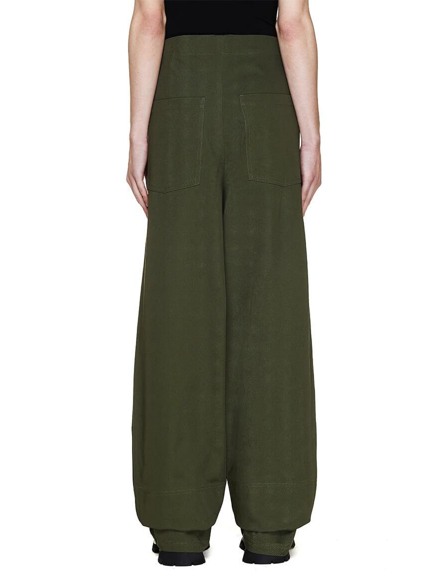 JIL SANDER Green High Waist Trousers