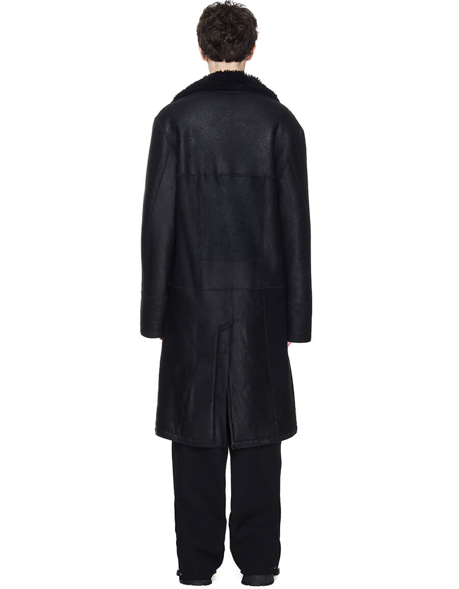 ANN DEMEULEMEESTER Black Shearling Coat