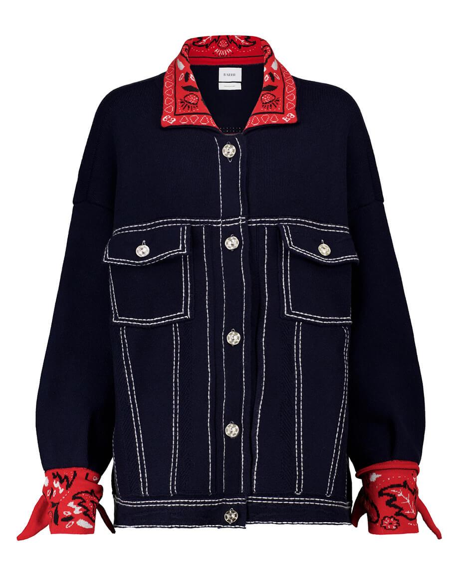 BARRIE Exclusive to Mytheresa – Bandana print cashmere blend knit jacket