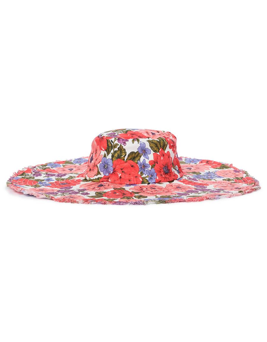 ZIMMERMANN Frayed Floppy floral linen hat