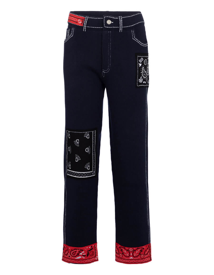 BARRIE Exclusive to Mytheresa – Bandana print cashmere blend straight pants