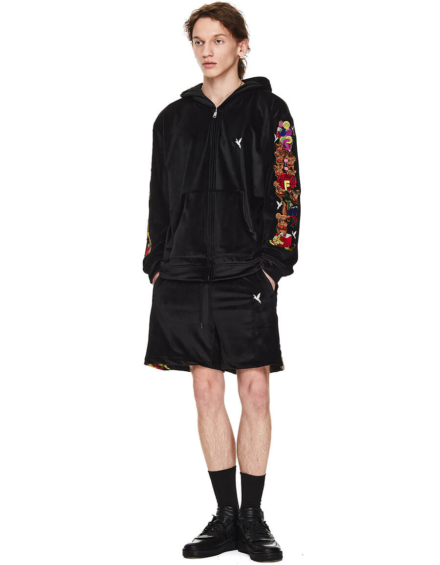 DOUBLET Black Velour Embroidered Hoodie