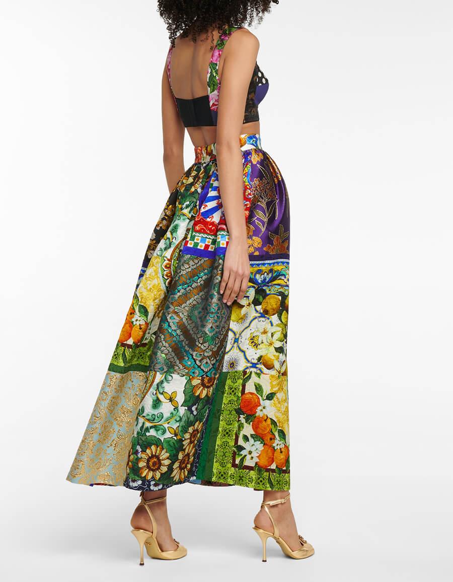 DOLCE & GABBANA Patchwork jacquard and brocade maxi skirt