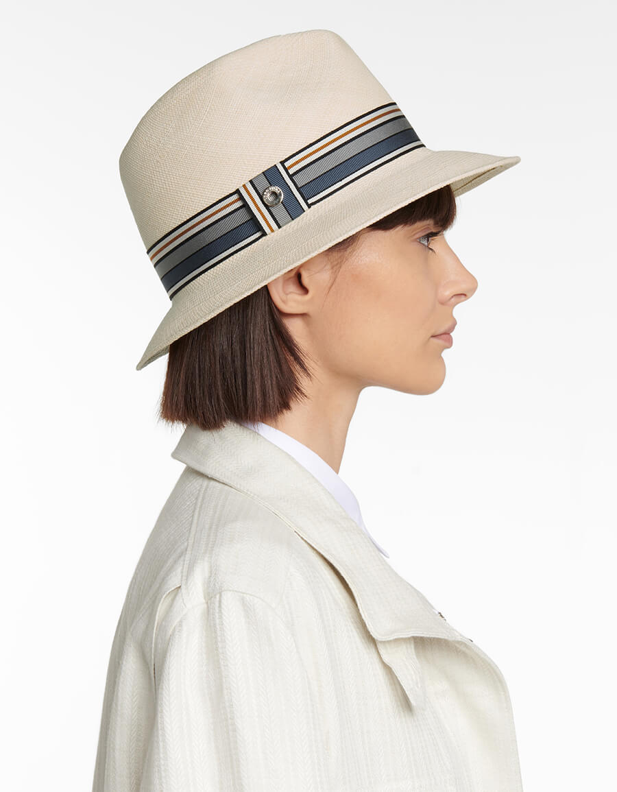 LORO PIANA The Suitcase Stripe straw fedora hat