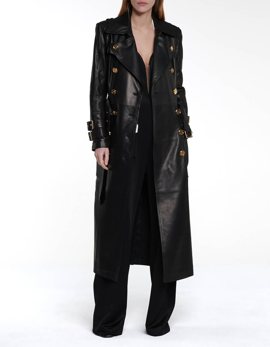 BALMAIN Leather trench coat