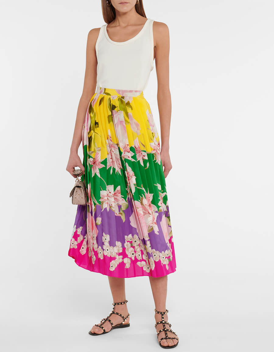 VALENTINO Valentino floral pleated silk maxi skirt