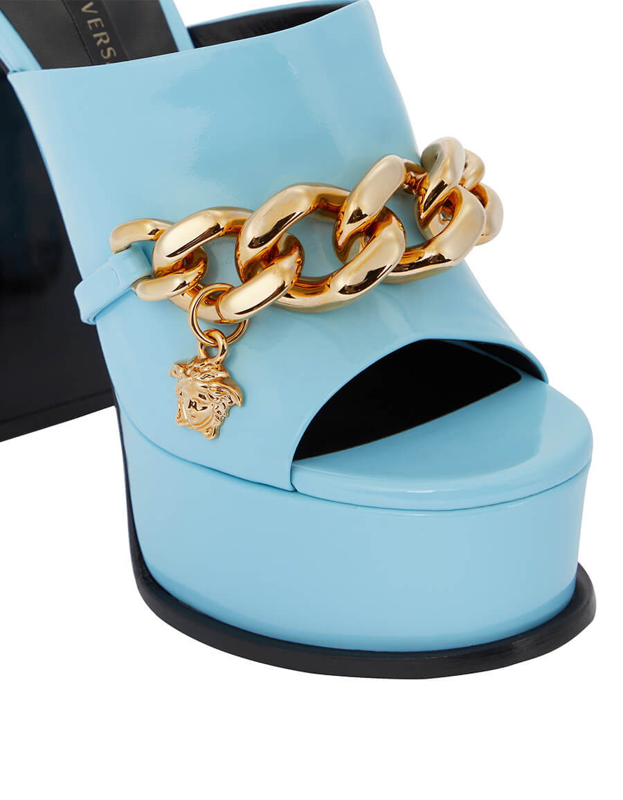 VERSACE Medusa Chain patent leather platform sandals