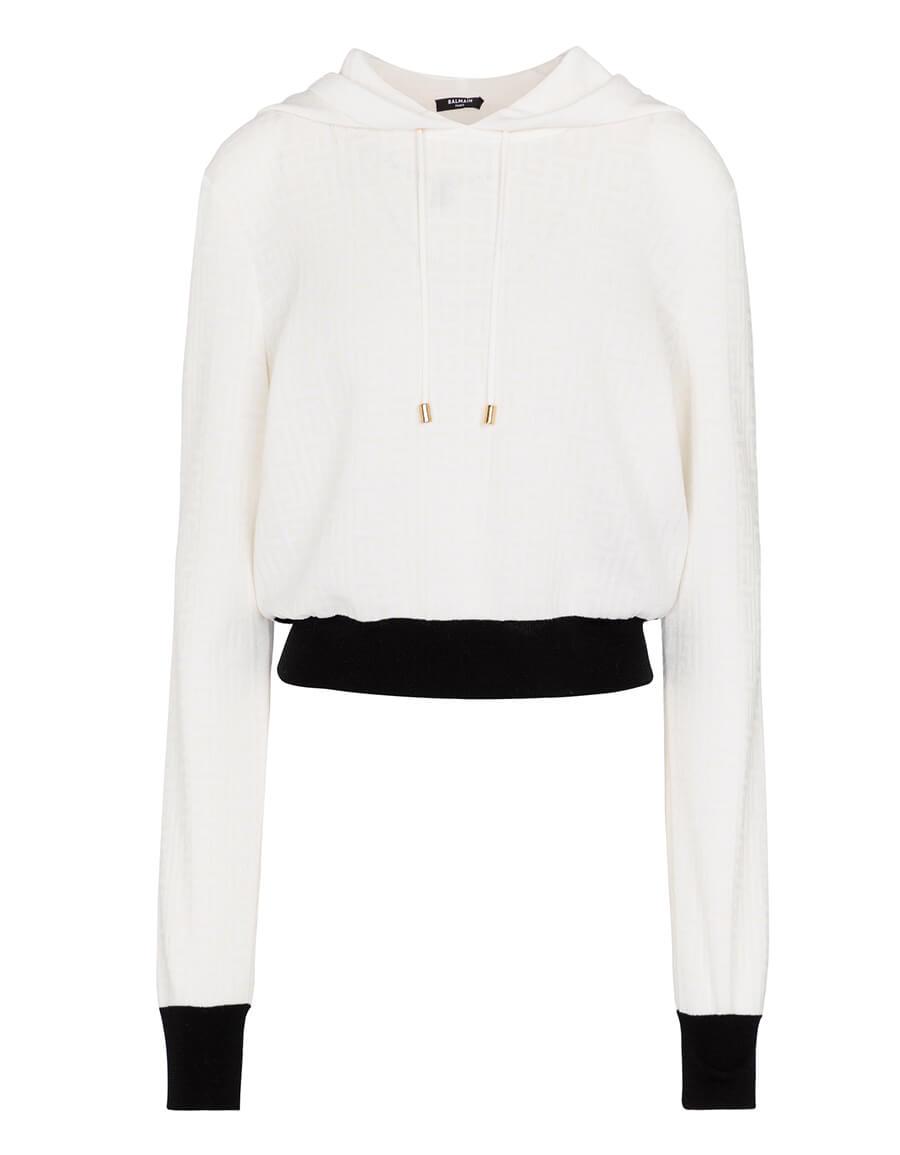 BALMAIN Logo wool blend hoodie