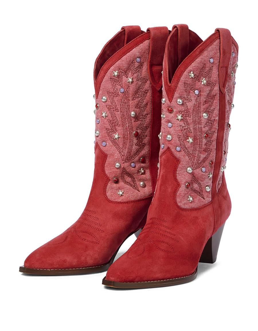 ISABEL MARANT Luliette embellished suede cowboy boots
