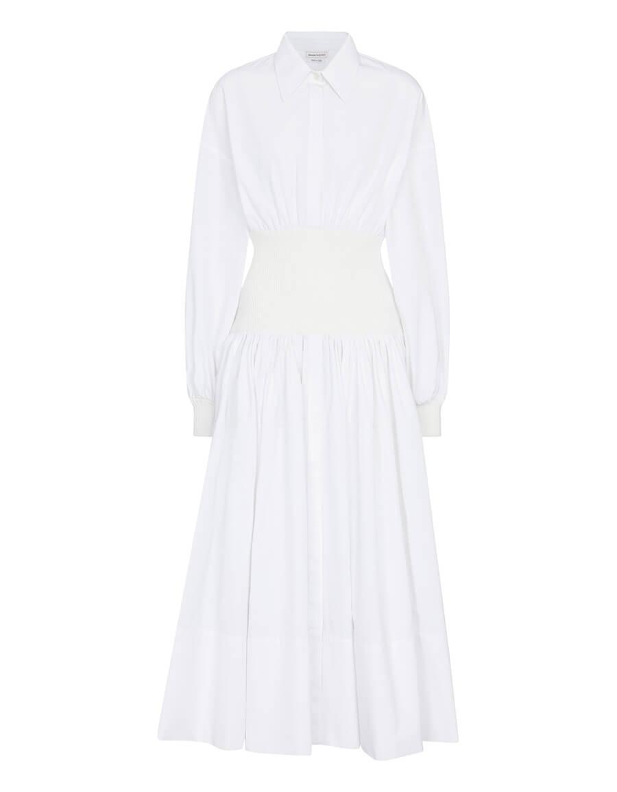 ALEXANDER MCQUEEN Cotton poplin midi dress