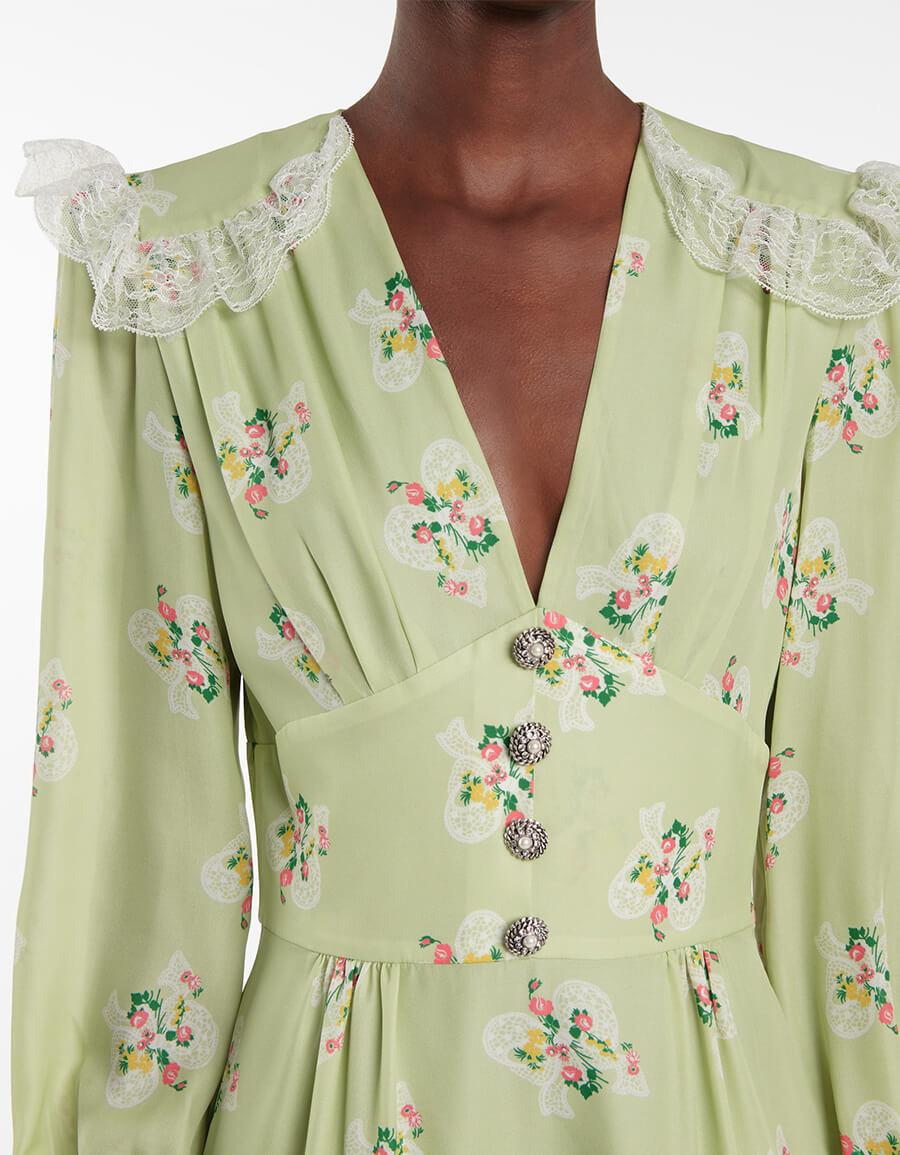 ALESSANDRA RICH Floral silk midi dress