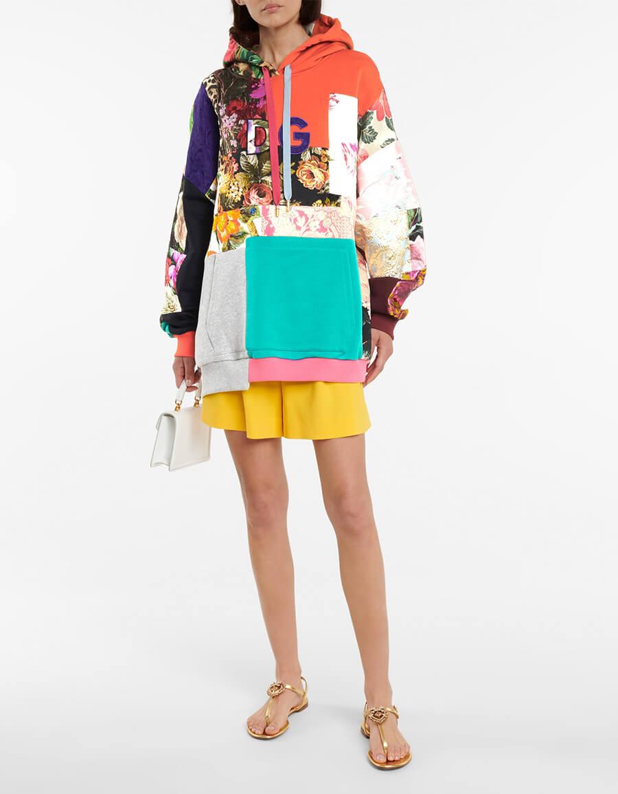 DOLCE & GABBANA Patchwork cotton blend hoodie