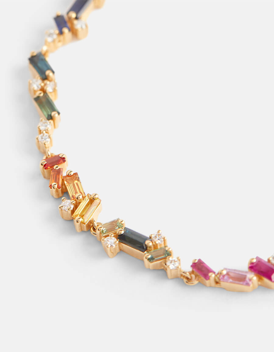 SUZANNE KALAN Fireworks 18kt yellow gold bracelet with diamonds and sapphires