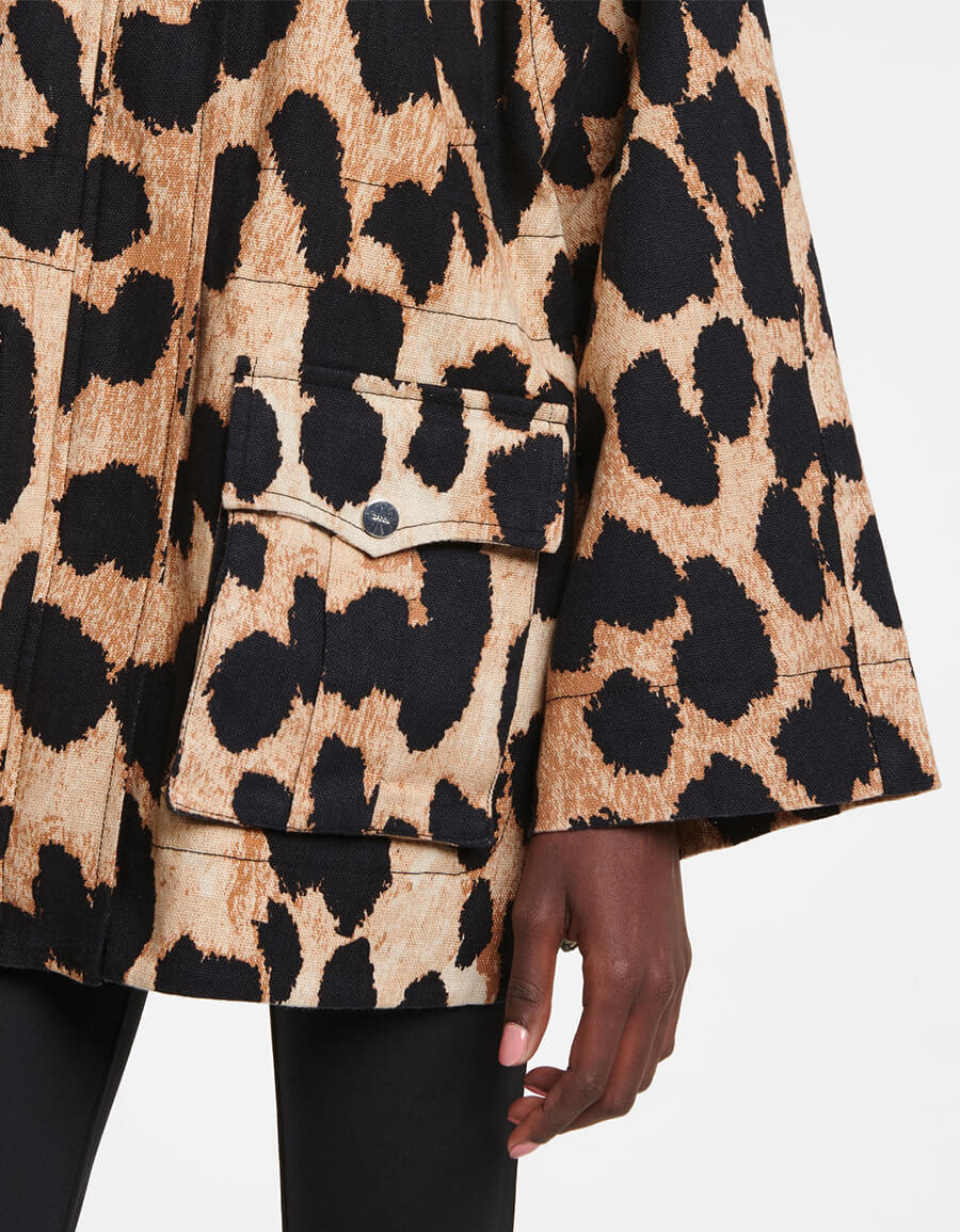 GANNI Leopard print linen and cotton jacket