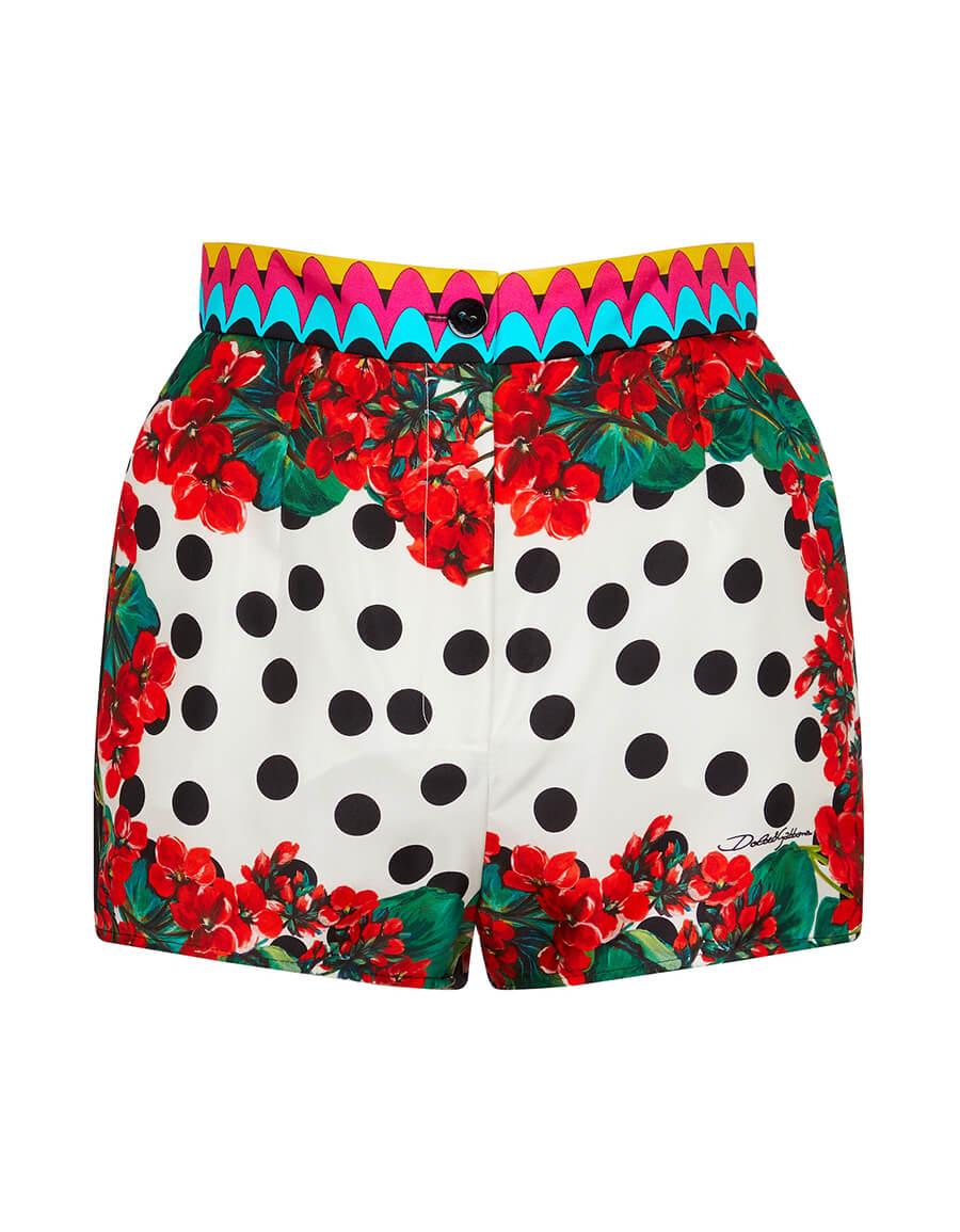 DOLCE & GABBANA Polka dot silk twill shorts