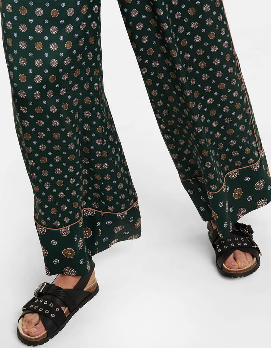 SACAI High rise printed satin palazzo pants