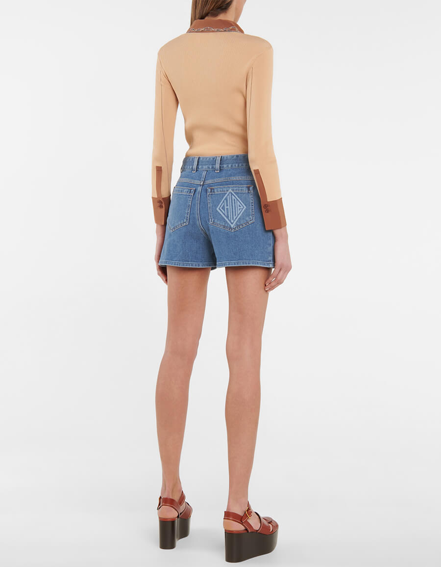 CHLOÉ High rise denim shorts