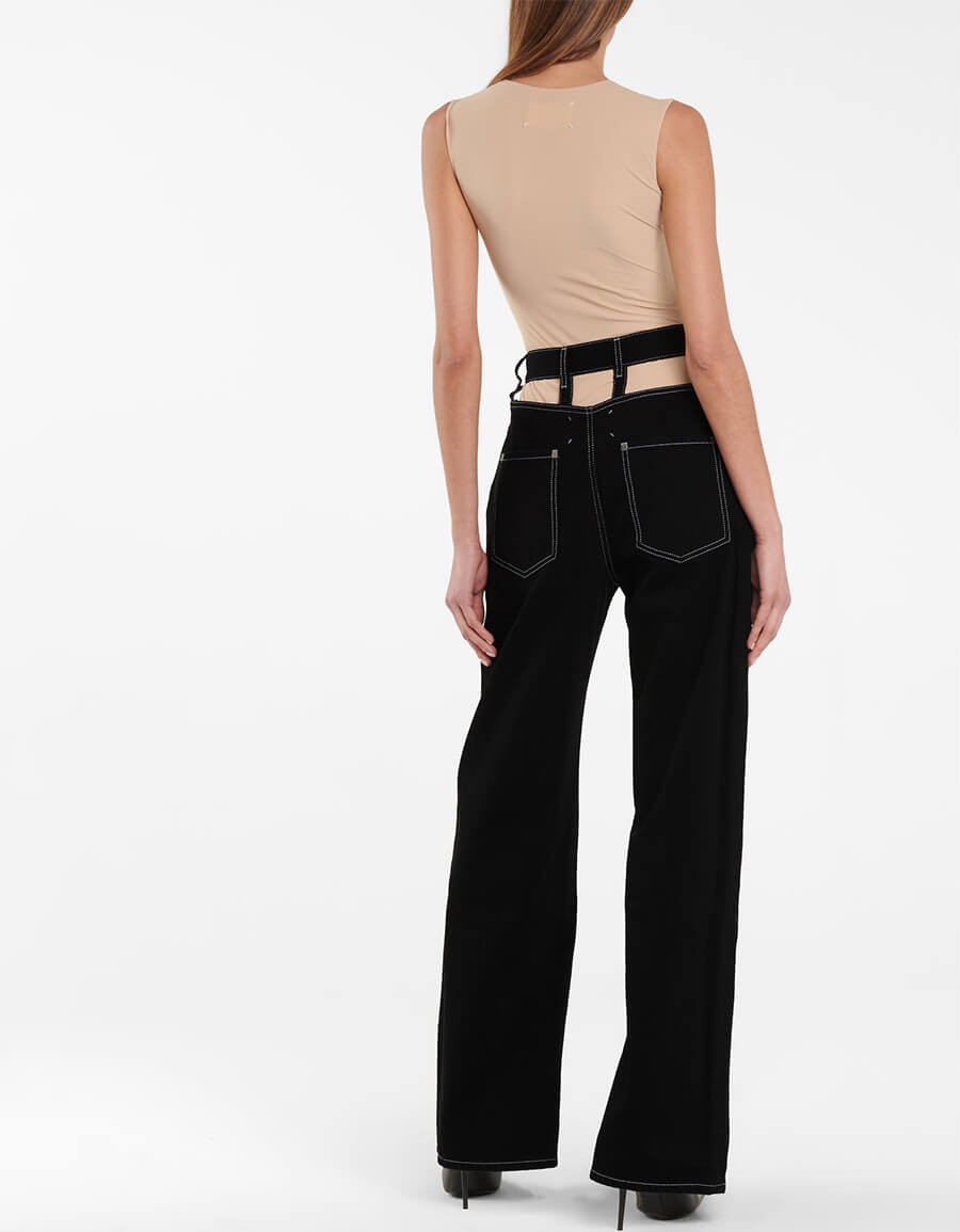 MAISON MARGIELA Cutout high rise wide leg jeans