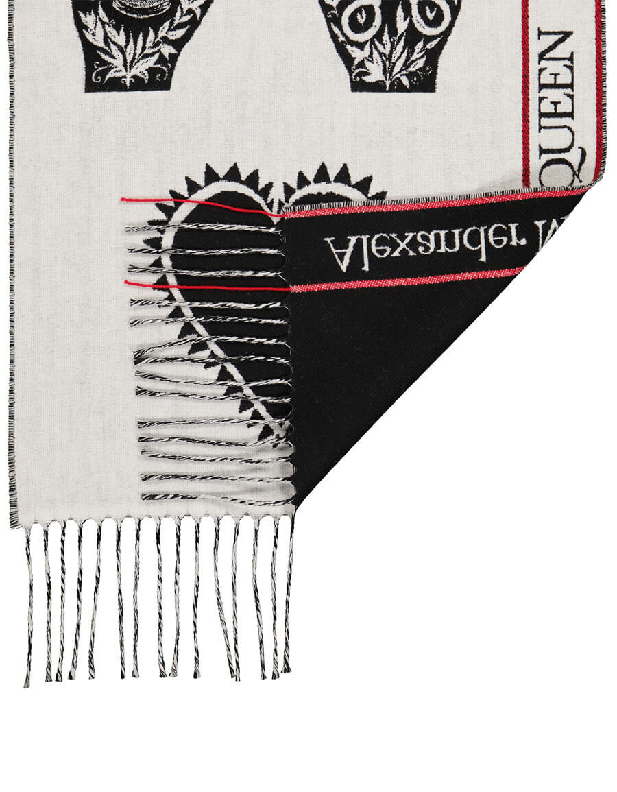 ALEXANDER MCQUEEN Printed wool and cashmere scarf