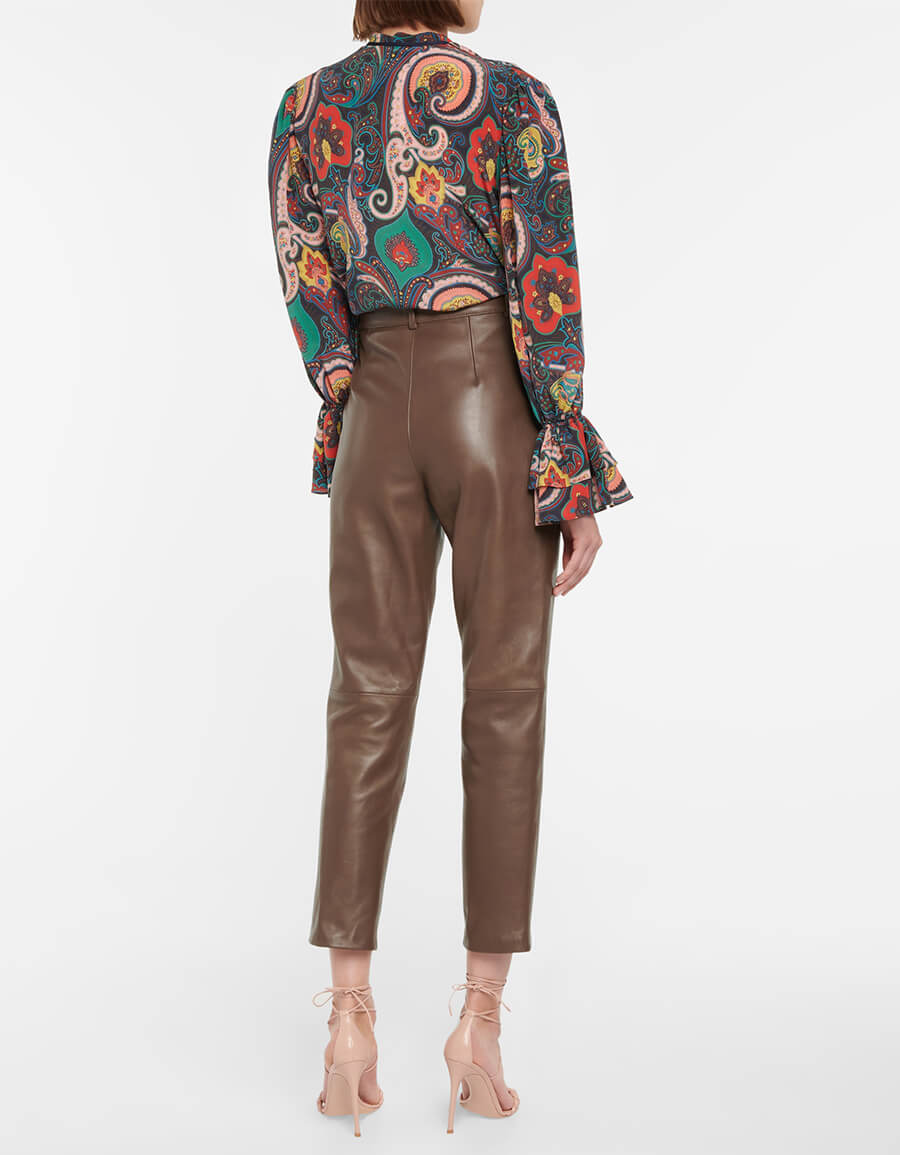 ETRO High rise tapered leather pants