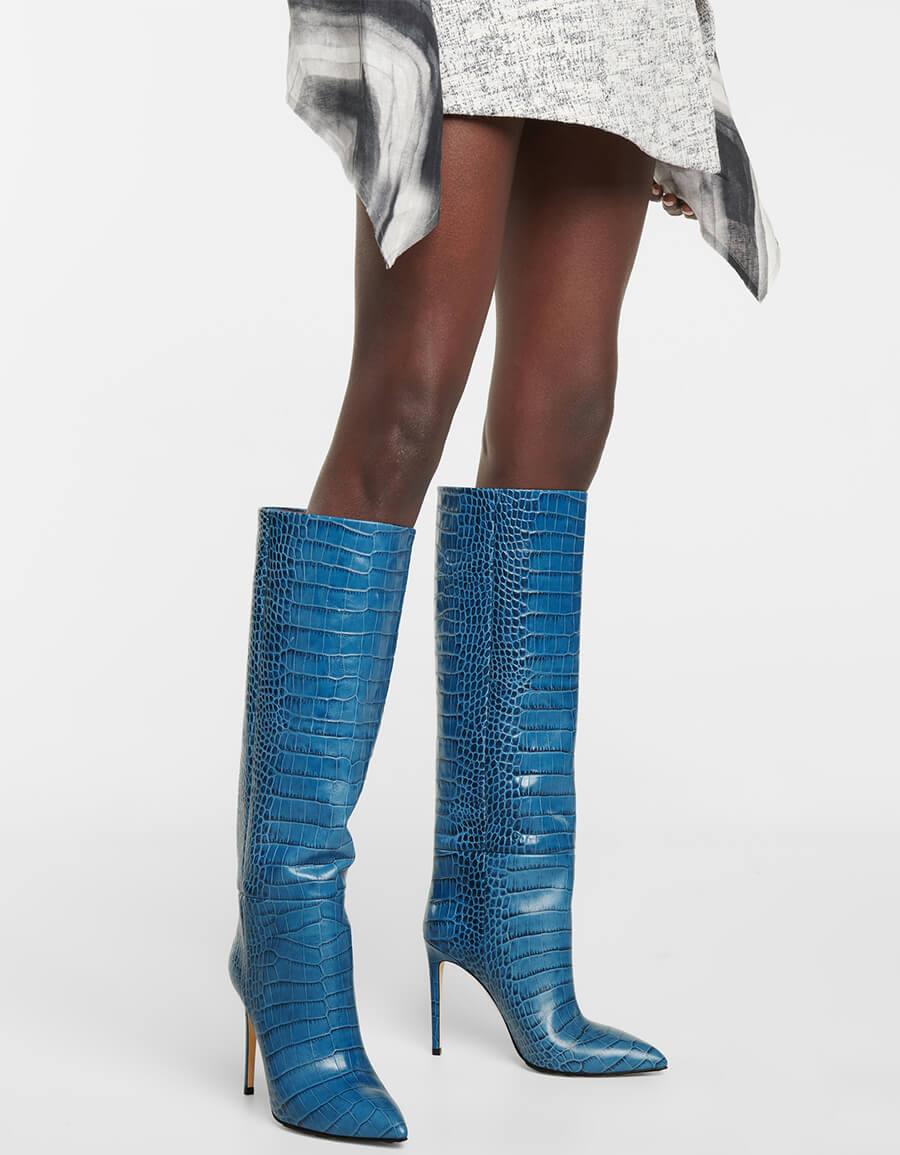 PARIS TEXAS Croc effect leather knee high boots