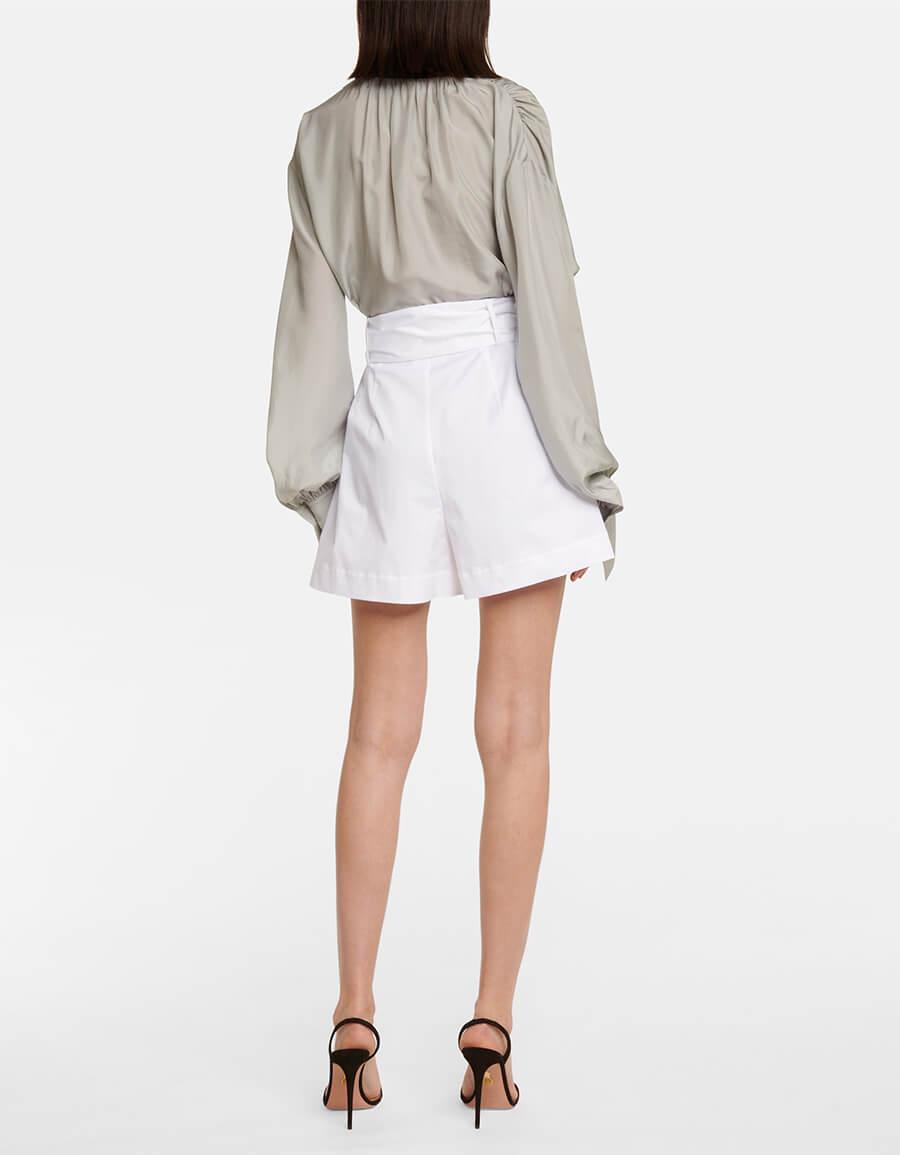OSCAR DE LA RENTA Pleated stretch cotton shorts
