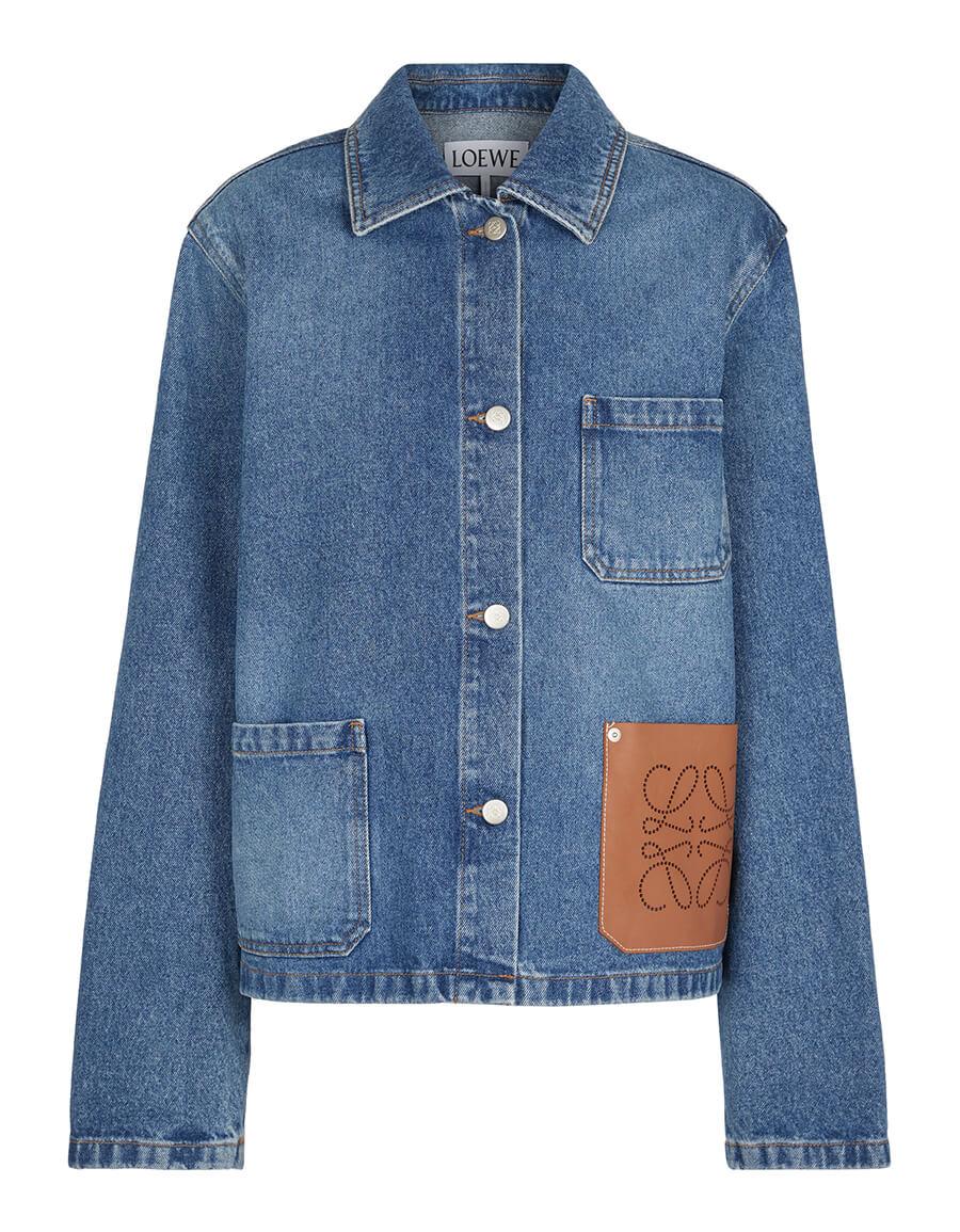 LOEWE Anagram leather trimmed denim jacket