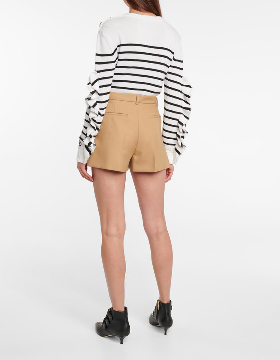 REDVALENTINO High rise wide leg virgin wool shorts