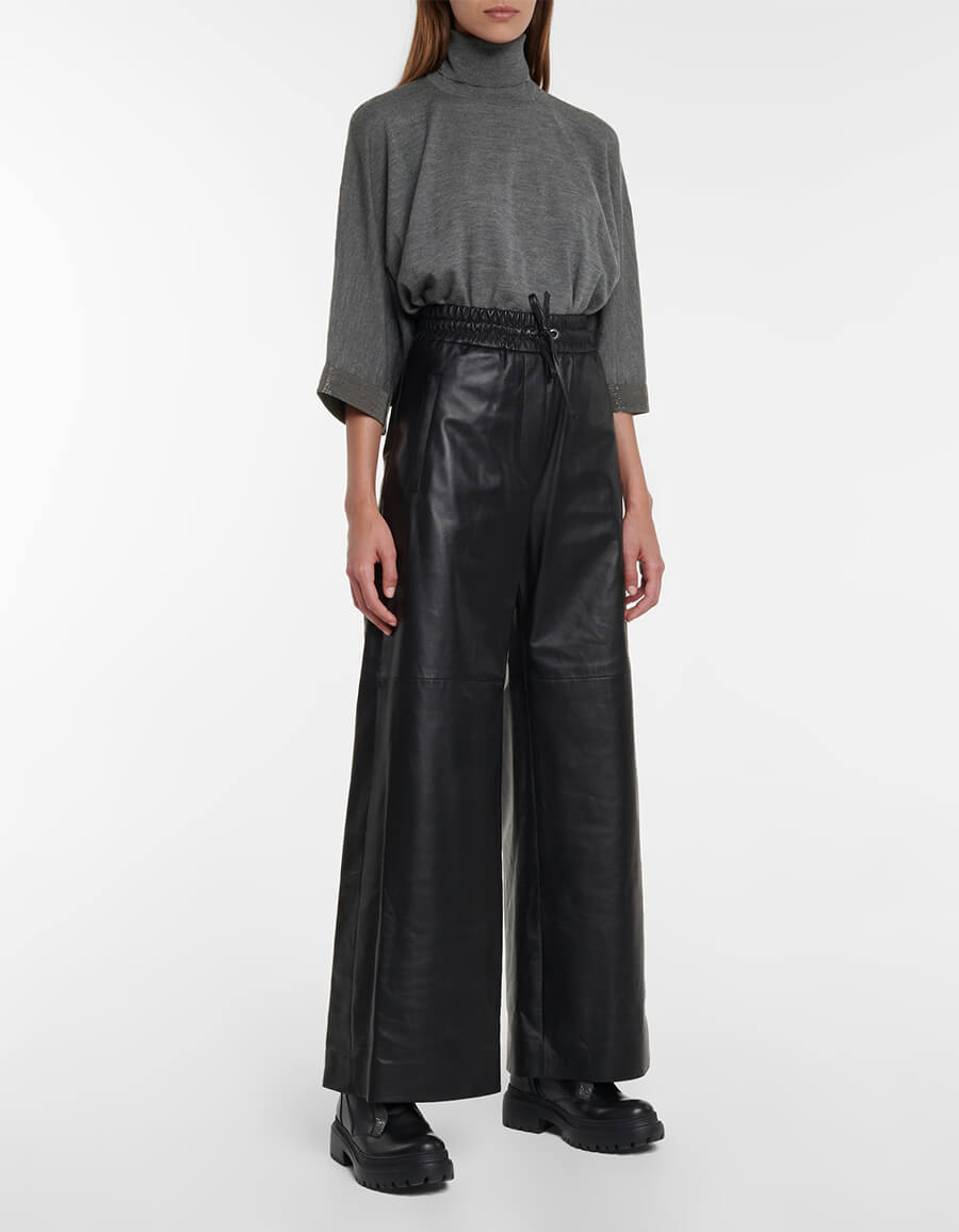 BRUNELLO CUCINELLI Leather wide leg pants