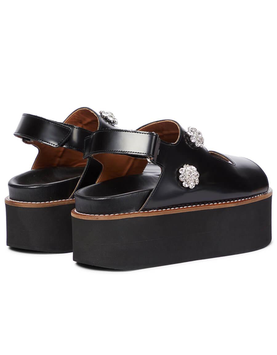 GANNI Embellished leather platform sandals