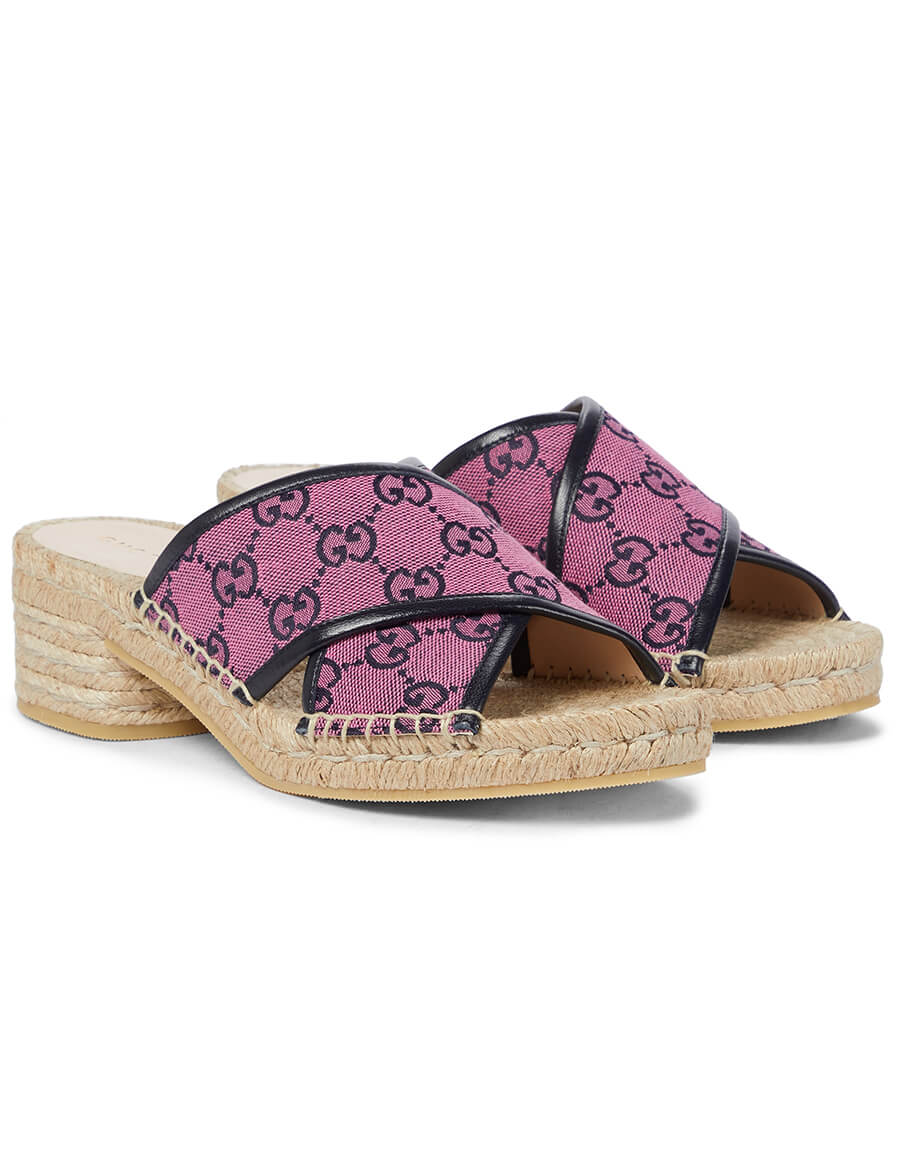 GUCCI GG Multicolor canvas espadrille sandals