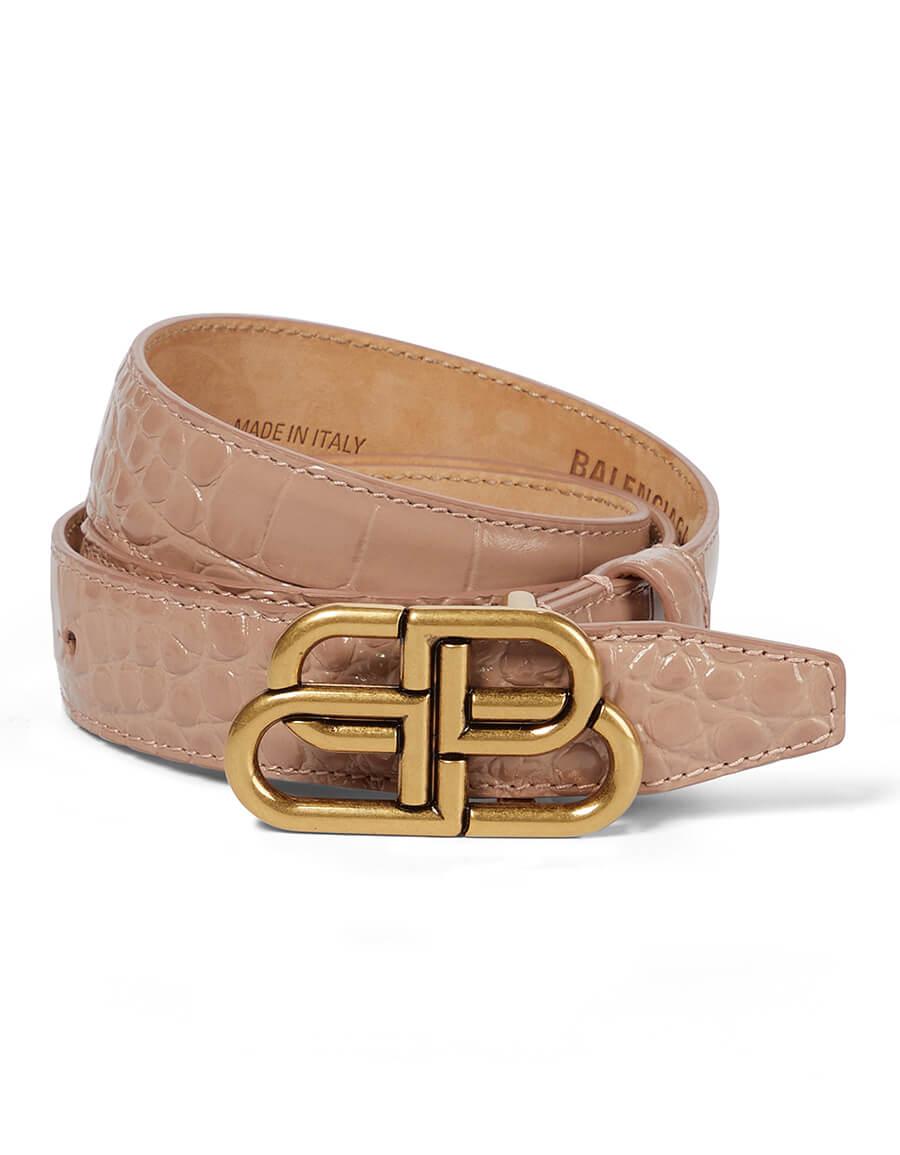 BALENCIAGA BB croc effect leather belt