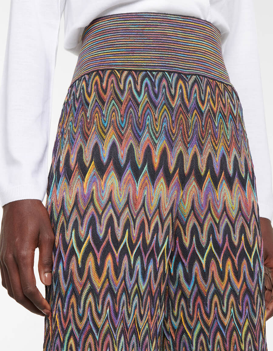 MISSONI High rise straight wool knit pants