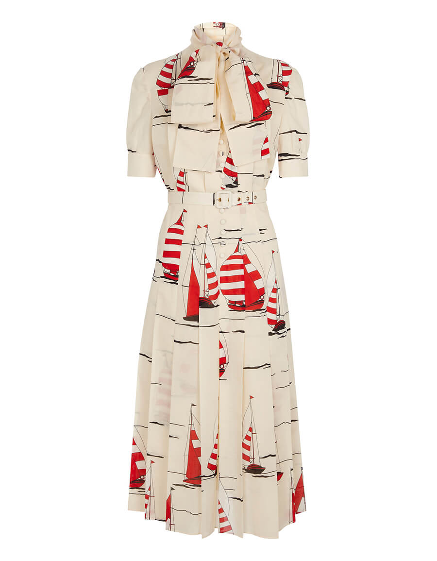 GUCCI Printed cotton and linen midi dress