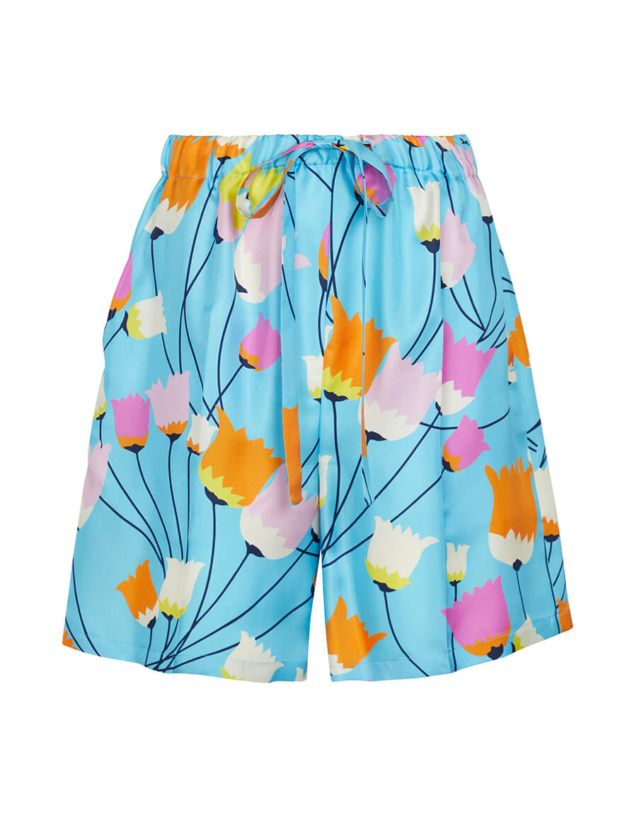 GUCCI Floral silk shorts