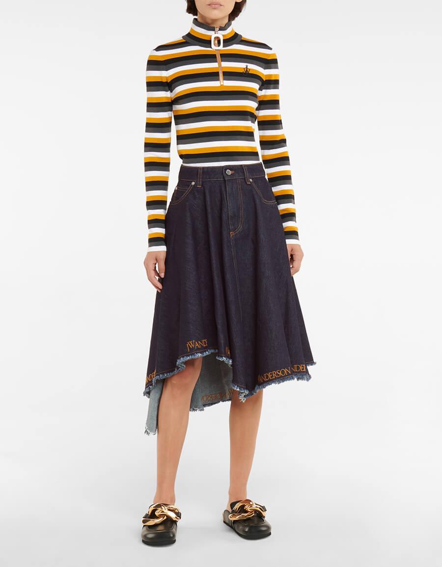 JW ANDERSON Asymmetric logo denim midi skirt