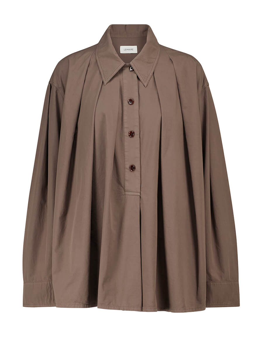 LEMAIRE Pleated half buttoned cotton shirt