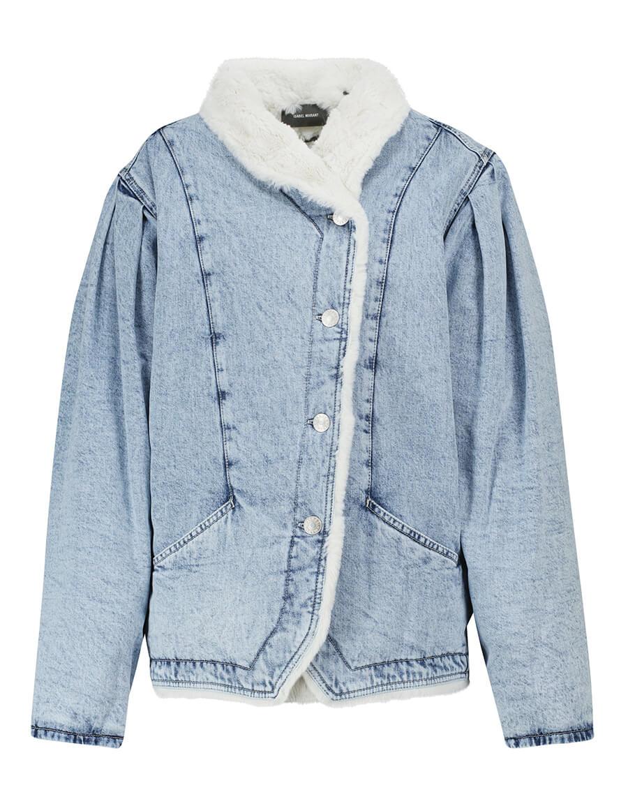 ISABEL MARANT Dipauline denim and faux fur jacket