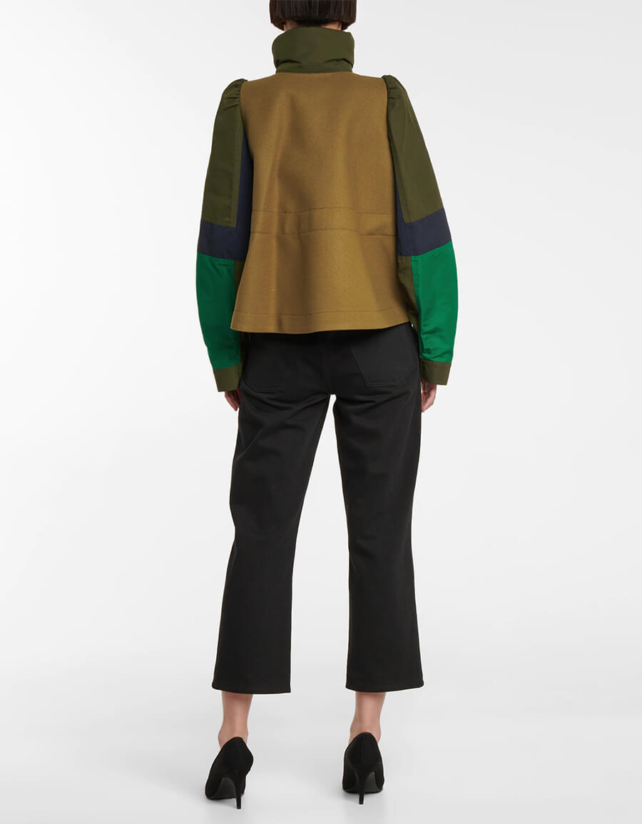 SACAI Wool and cotton buckled jacket