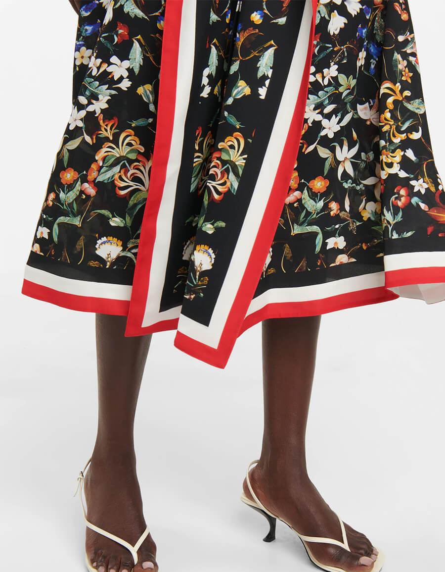 BURBERRY Floral foulard trim silk midi dress