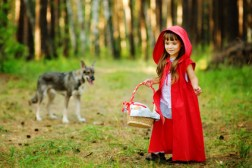 """wolf pursues the girl. the fairy tale """" Red Riding Hood"""""""