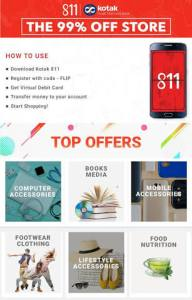 Flipkart Kotak 811 App Loot : Get 99% Instant Discount on Selected Products (All Users)