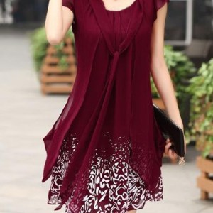 Tie Neck Printed Wine Red Mini Dress - $28.66